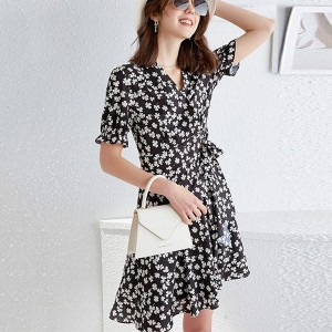 Floral Ruffled Hem Printed V Neck Mini Dress - Black
