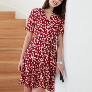 Floral Ruffled Hem Printed V Neck Mini Dress - Red