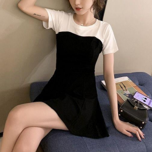 Round Neck A-Line Short Sleeved Contrast Casual Mini Dress