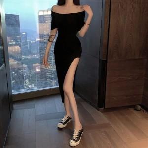 Split Hem Solid Color Short Sleeves Midi Dress - Black