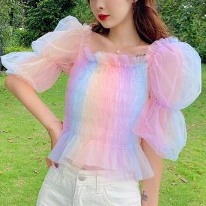 Puff Ruffled Style Thin Fabric Rainbow Elegant Top - Multicolor