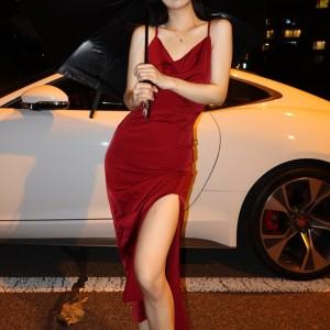 Spaghetti Strap Solid Color Shiny Midi Dress - Red