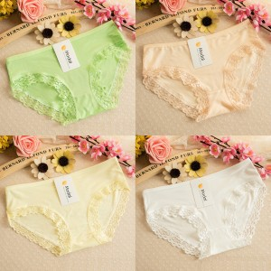 Four Pics Lace Patched Cotton Fabric Women Casual Wear Underwear Set