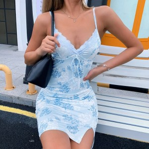 Body Fitted Spaghetti Fitted Printed Beach Wear Sexy Dress - Blue