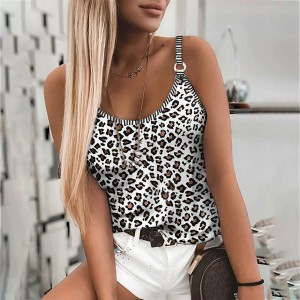 Leopard Printed Body Fitted Women Fashion Summer Blouse Top - White