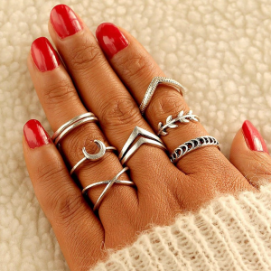 Creative Shapes Design Silver Plated Rings For Women - Silver