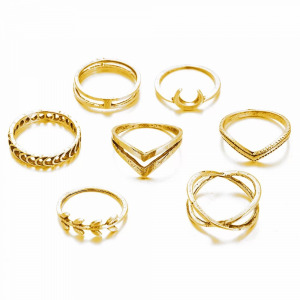 Creative Shapes Design Gold Plated Rings For Women - Golden