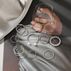 Silver Plated Bohemia Women Fashion Rings Set - Silver