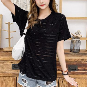 Textured Round Neck Short Sleeves Solid Color T-Shirt - Black