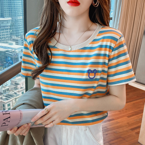 Stripes Printed Round Neck Short Sleeves T-Shirt - Yellow