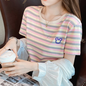 Stripes Printed Round Neck Short Sleeves T-Shirt - Pink