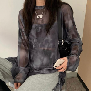Round Neck Full Sleeves Mesh Print Loose Wear Top - Gray