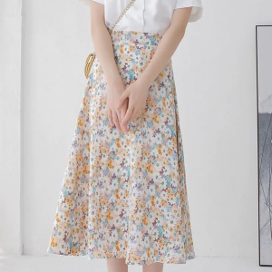 Floral Print A-Line Thin Fabric A-Line Skirt - Yellow