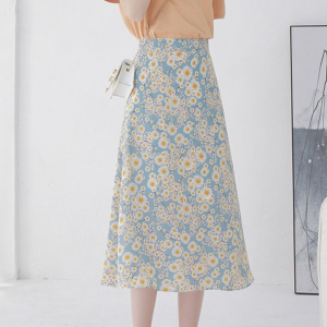 Floral Print A-Line Thin Fabric A-Line Skirt - Blue