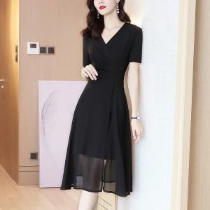 Solid Color A-Line Chiffon Thin Fabric Mini Dress - Black