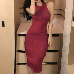 Ribbed Halter Neck Bodycon Fashion Wear Dress - Red