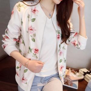 Zipper Closure Floral Print Full Sleeves Jacket - White
