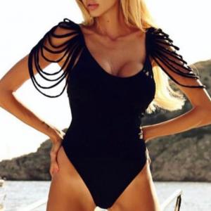 Hollow Thread Tassel Art Swimwear Women Bodysuit - Black