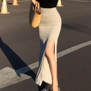 Split Hem Solid Color Elastic Waist Skirt - Gray