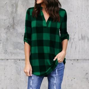 Women Vintage Fashion Check Prints Summer Blouse Top - Green