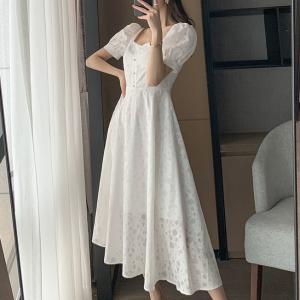 Short Sleeved Textured Midi Dress - White