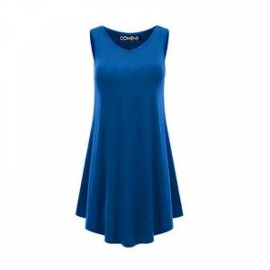 V Neck Ruffled Sleeveless Solid Color Mini Dress - Blue