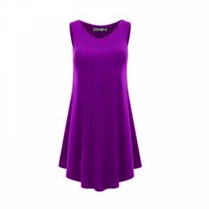 V Neck Ruffled Sleeveless Solid Color Mini Dress - Purple