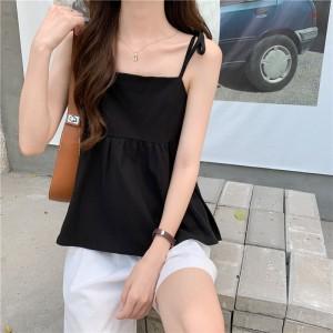 Spaghetti Strap Solid Color Summer Wear Top - Black