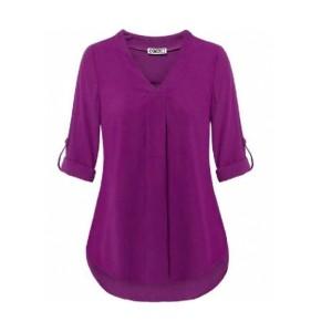 V Neck Fold Sleeve Style Pleated Blouse Top - Purple