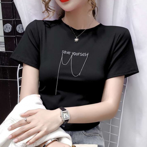 Round Neck Alphabetic Short Sleeves Solid Color T-Shirt - Black