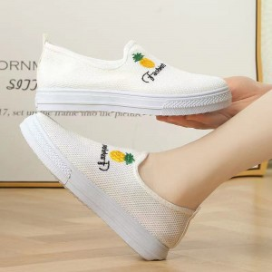 Mesh Stylish Slip Over Sober Women Sneakers - White