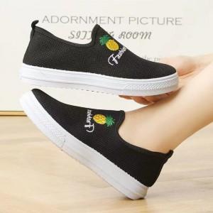 Mesh Stylish Slip Over Sober Women Sneakers - Black