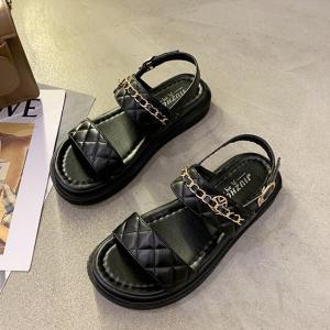 Chain Patched Buckle Closure Women Fashion Sandals - Black
