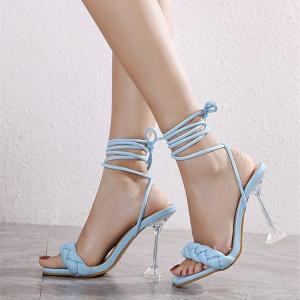 Braided Stylish Design Gladiator Heel For Women - Blue