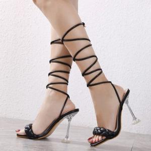 Braided Stylish Design Gladiator Heel For Women - Black