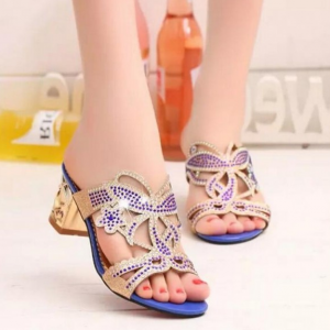 Crystals Patched Square Heel Fashion Wear Sandals - Blue