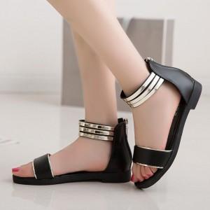 Flat Wear Zipper Closure Flat Wear Elegant Sandals - Black