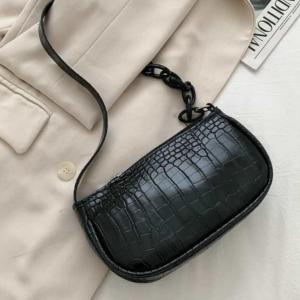 Chain Patched Crocodile Texture Fancy Messenger Bags - Black