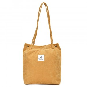 Canvas Magnetic Closure Solid Color Shoulder Bags - Yellow