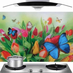 Digital Print Butterfly Print Adhesive Oil Resistant Kitchen Sheet