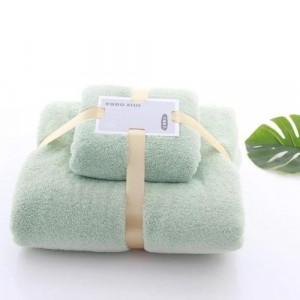 Soft Bath Towel Light Green Color Set of 2 Pieces