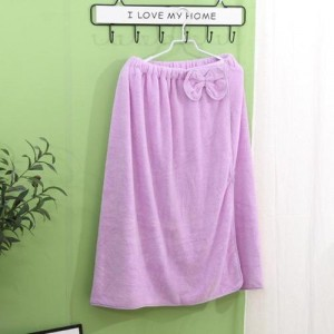 Super Soft Absorbent Bathrobe With Bow Design - Purple