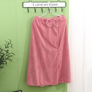 Super Soft Absorbent Bathrobe With Bow Design - Pink