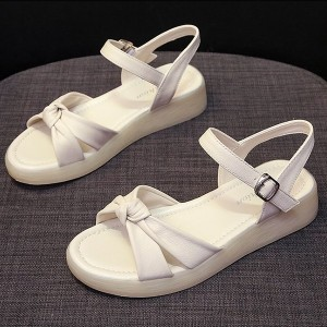Buckle Closure Knot Style Flat Wear Sandals - White