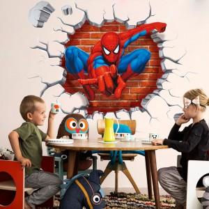 Spiderman 3D Children Bedroom Decoration Adhesive Sticker - Multicolor