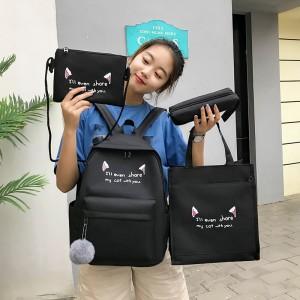 Set Of 4Pcs Large Capacity Canvas Cloth Portable Female Backpack - Black