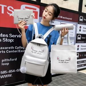 Set Of 4Pcs Large Capacity Canvas Cloth Portable Female Backpack - Gray