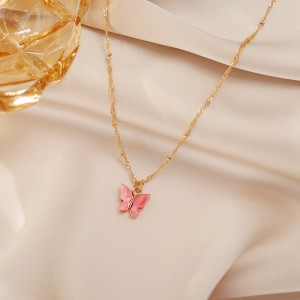 Acrylic Dangle Butterfly Necklace For Women - Red