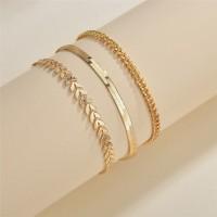 Three Pieces Gold Plated Hook Closure Bracelet - Golden