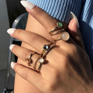 Seven Pieces Gold Plated Women Fashion Rings Set